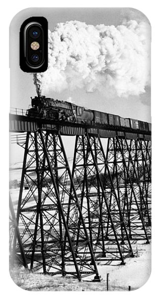 Trestle iPhone Case - A Steam Engine On Trestle by Underwood Archives