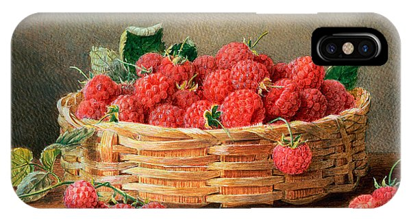 A Still Life Of Raspberries In A Wicker Basket  IPhone Case