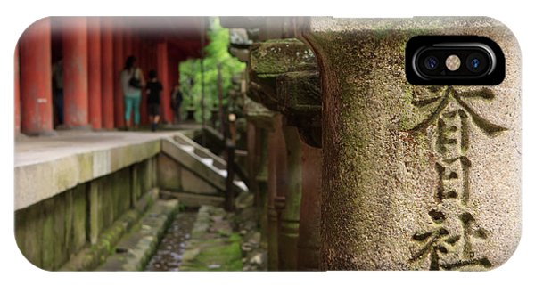 A Stone Pillar Which Reads Kasuga Phone Case by Paul Dymond