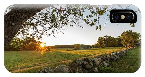 iPhone Case - A Stone Wall And Field At Sunrise by Jerry and Marcy Monkman