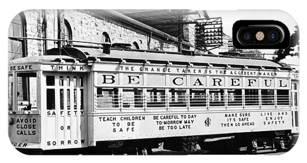 Trolley Car iPhone Case - A Streetcar Named Safety First by Underwood Archives