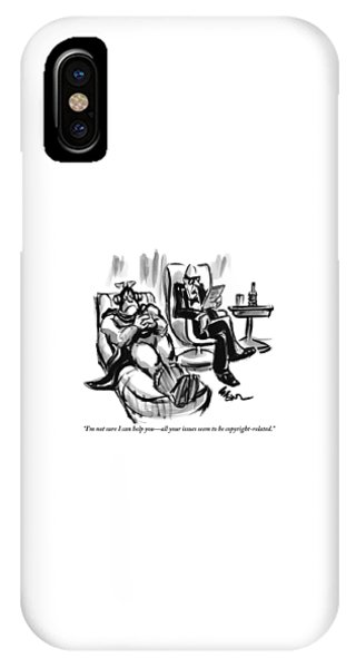 A Superhero Lays In A Chair Talking IPhone Case