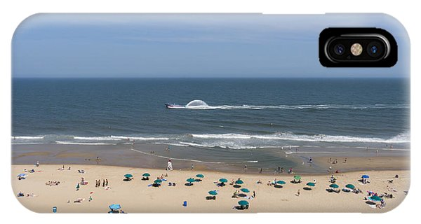 A Touring Speedboat Passes By Shore In Ocean City Maryland IPhone Case