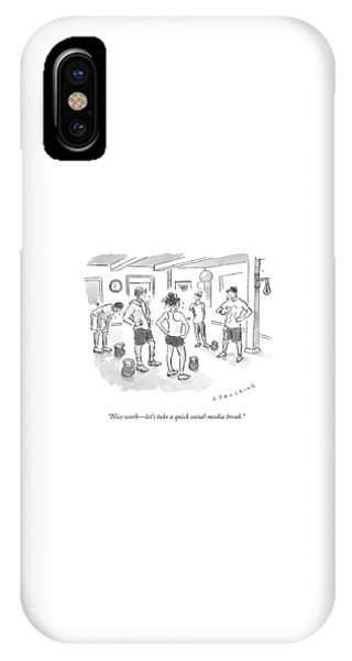 Workout iPhone Case - A Trainer At A Gym Talking To A Small Group by Trevor Spaulding
