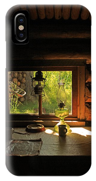 A Trappers Cabin And Table IPhone Case