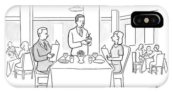 A Waiter Addresses A Couple Who Are Seated IPhone Case