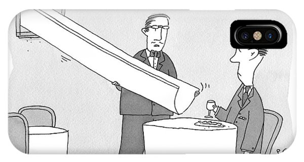 A Waiter Holds A Large Chute Over A Man's Plate IPhone Case