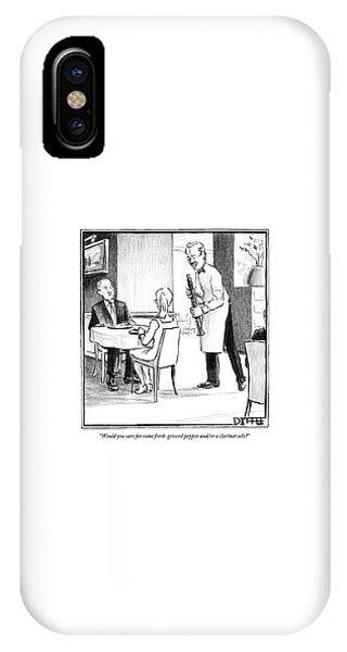 A Waiter Offers Pepper To Two Patrons. His Pepper IPhone Case