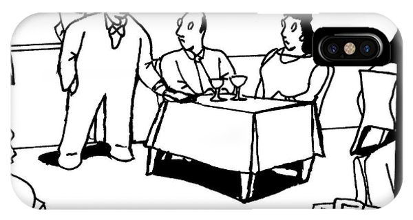 A Waiter Speaks To A Couple At A Restaurant Table IPhone Case