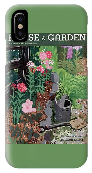 A Watering Can And A Shovel By A Flower Bed IPhone Case