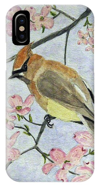 A Waxwing In The Dogwood IPhone Case
