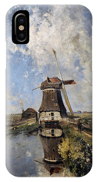 20th Century Man iPhone Case - A Windmill On A Polder Waterway, Known As In The Month Of July, C. 1889, By Paul Joseph Constantin by Bridgeman Images