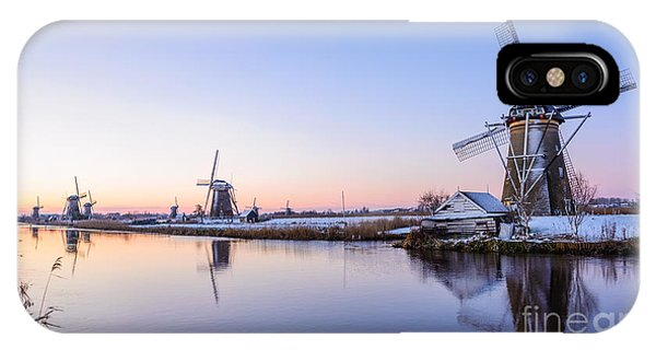 A Cold Winter Morning With Some Windmills In The Netherlands IPhone Case