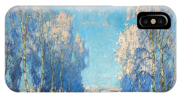 Russian Impressionism iPhone Case - A Winter's Day by Konstantin Ivanovich Gorbatov
