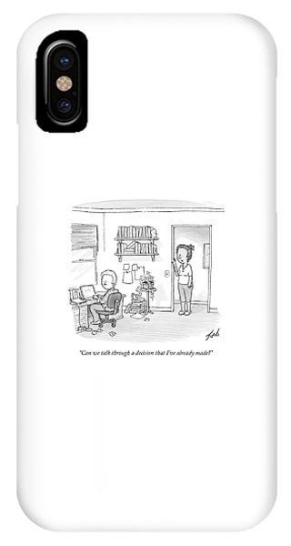 A Woman Addresses Her Husband In His Home Office IPhone Case
