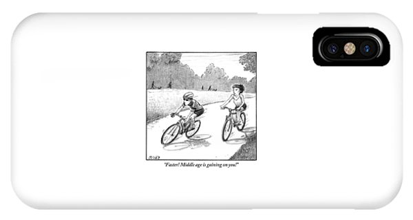 A Woman Casually Riding A Bicycle Addresses A Man IPhone Case