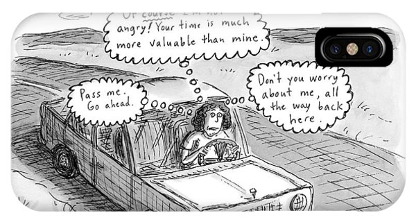 Highway iPhone Case - A Woman Driving Down The Road Acting by Roz Chast