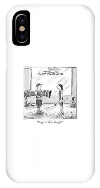 A Woman In A Yoga Studio Holding A Mat Speaks IPhone Case