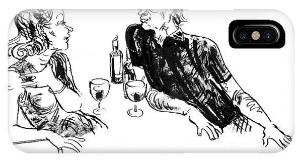Bar iPhone Case - A Woman Is Seen Speaking With A Man As They Drink by William Hamilton