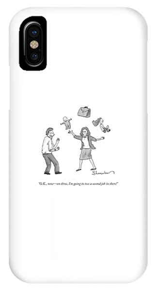A Woman Juggles Two Children And A Briefcase IPhone Case