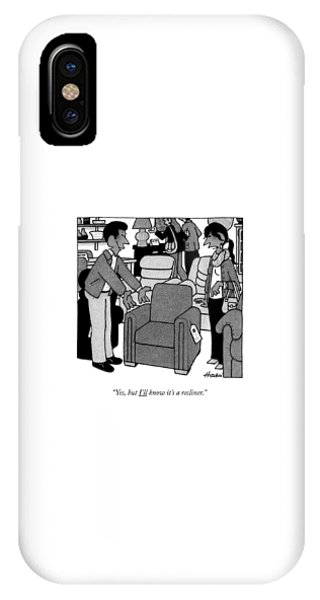 A Woman Looks At A Recliner Chair At A Store IPhone Case
