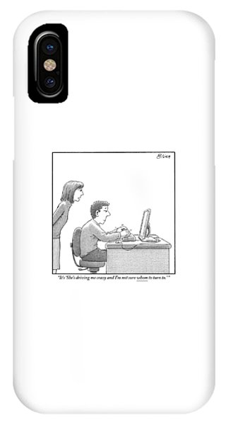 A Woman Looks Over Her Husband's Shoulder IPhone Case