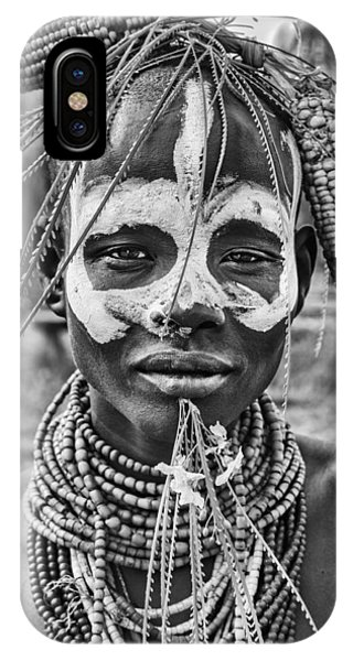 Necklace iPhone Case - A Woman Of The Karo Tribe (omo Valley-ethiopia). by Joxe Inazio Kuesta
