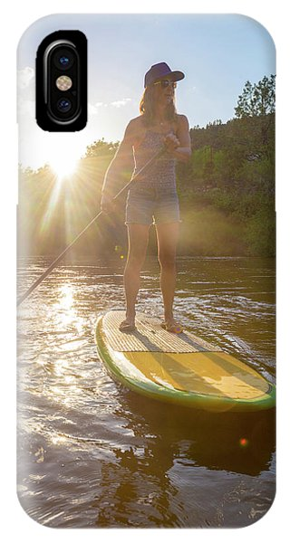 Anima iPhone Case - A Woman Paddleboarding On Animas River by Kennan Harvey