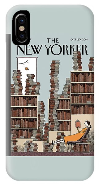 Reading iPhone Case - Fall Library by Tom Gauld
