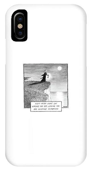 A Woman Runs In The Dark Toward A Cliff IPhone Case