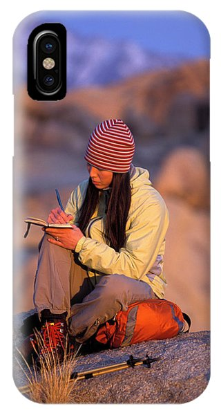 Knit Hat iPhone Case - A Woman Sits And Writes In Her Journal by Corey Rich