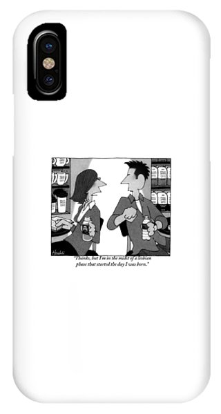 A Woman Sitting At A Coffee Table Turns To A Man IPhone Case