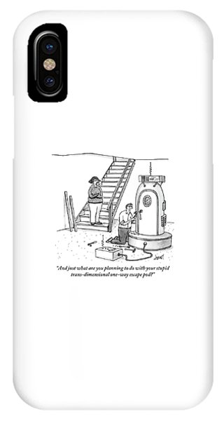 A Woman Stands At The Foot Of A Stair Case IPhone Case