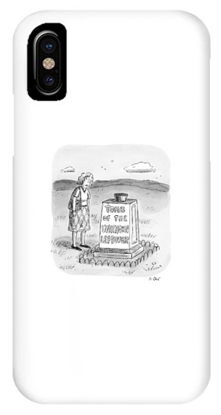 A Woman Stands In Front Of A Tomb With A Bowl IPhone Case
