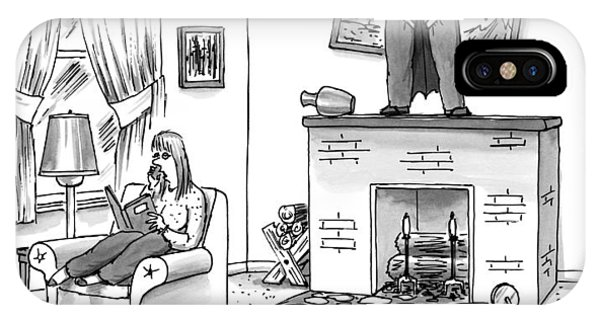 Fireplace iPhone Case - A Woman Talking On The Phone While A Man by Tom Cheney