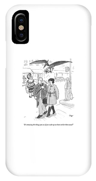 A Woman Talks To A Man As A Dinosaur And A Snake IPhone Case