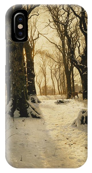 A Wooded Winter Landscape With Deer IPhone Case