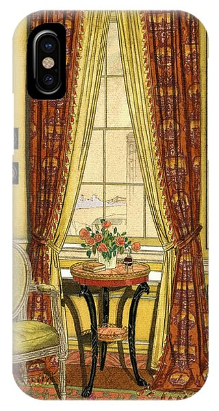 A Yellow Library With A Vase Of Flowers IPhone Case