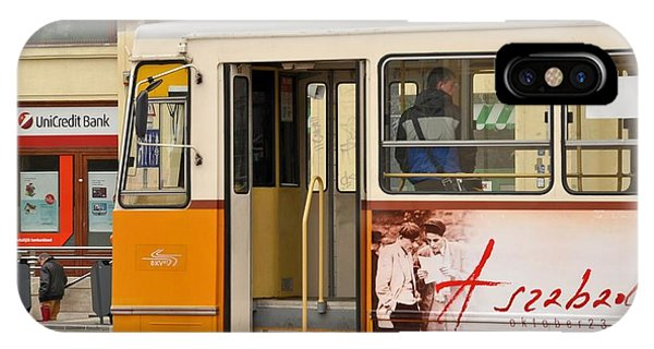 A Yellow Tram On The Streets Of Budapest Hungary IPhone Case