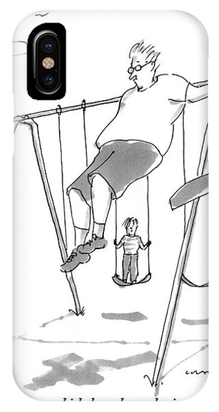 Dance iPhone Case - A Young Boy On A Swingset To His Father by Michael Crawford
