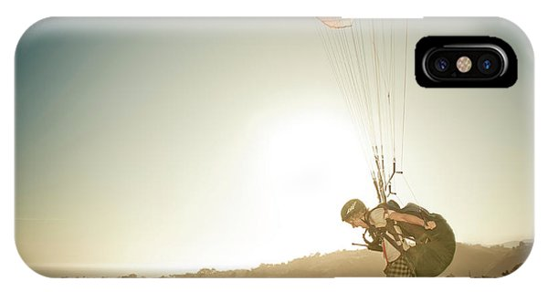 Barbara Steele iPhone Case - A Young Man Launches His Paraglider by Kevin Steele