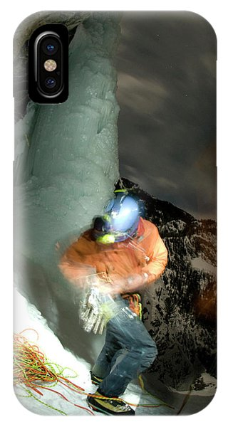 Bear Creek iPhone Case - A Young Man Prepares For Ice Climbing by Alain Denis