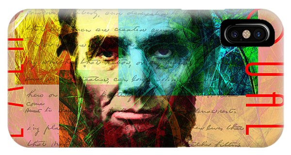 Wingsdomain iPhone Case - Abraham Lincoln All Men Are Created Equal 2014020502 by Wingsdomain Art and Photography