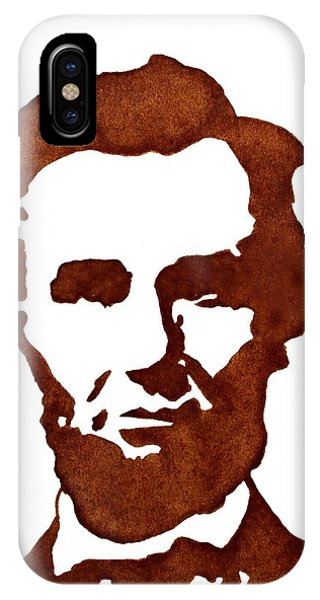IPhone Case featuring the painting Abraham Lincoln Original Coffee Painting by Georgeta  Blanaru