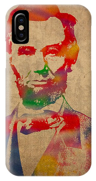 Portraits iPhone X Case - Abraham Lincoln Watercolor Portrait On Worn Distressed Canvas by Design Turnpike