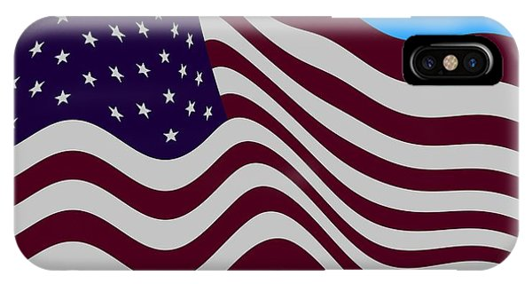 Abstract Burgundy Grey Violet 50 Star American Flag Flying Cropped IPhone Case