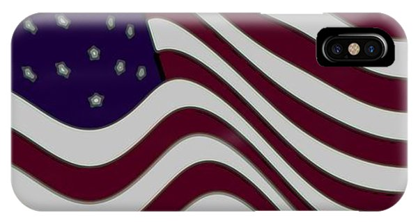 Abstract 50 Star American Flag Flying Enhanced Cropped X 2 Phone Case by L Brown
