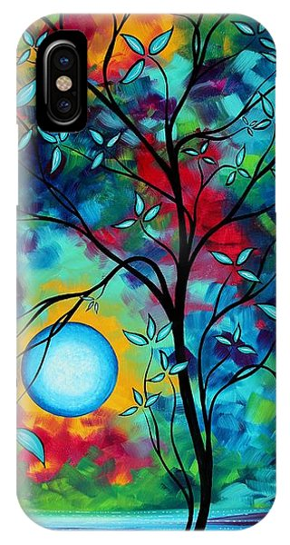 Dark Violet iPhone Case - Abstract Art Landscape Tree Blossoms Sea Painting Under The Light Of The Moon I  By Madart by Megan Duncanson