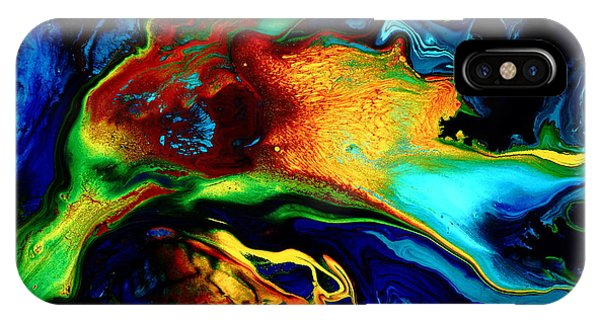Abstract Art Modern Colorful Fluid Painting Bird Of Paradise By Kredart IPhone Case