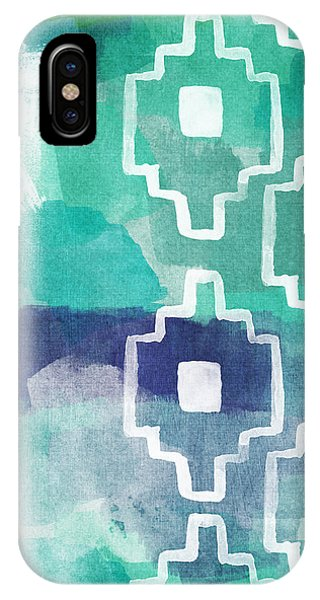 Aztec iPhone Case - Abstract Aztec- Contemporary Abstract Painting by Linda Woods